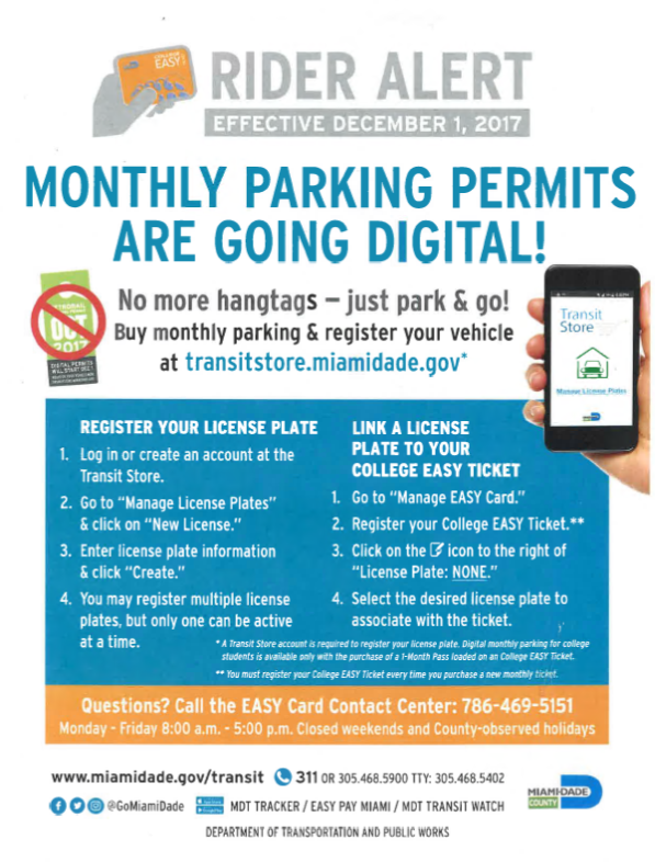 Miami-Dade Transit Parking Pass information