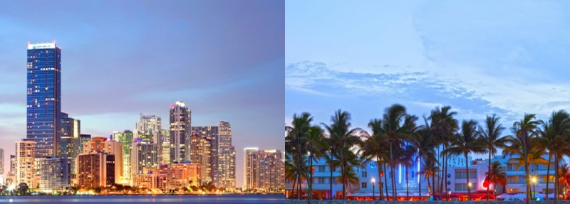 Skyline of Miami and Ocean drive