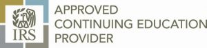 IRS logo, approved continuing education provider text