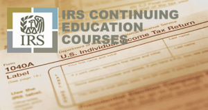 IRS logo over tax return form 1040a
