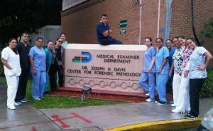 students posing at Medical examiner department in Miami Dade