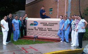 students posing at Medical examiner department in Miami Dade