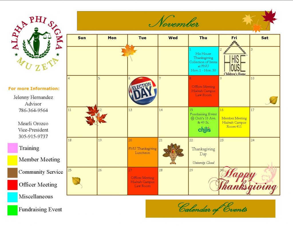 Calendar of Events November 2012
