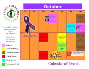 Calendar of Events October 2012