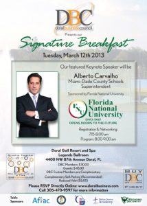 Florida National University to Sponsor the Doral Business Council's Signature Breakfast