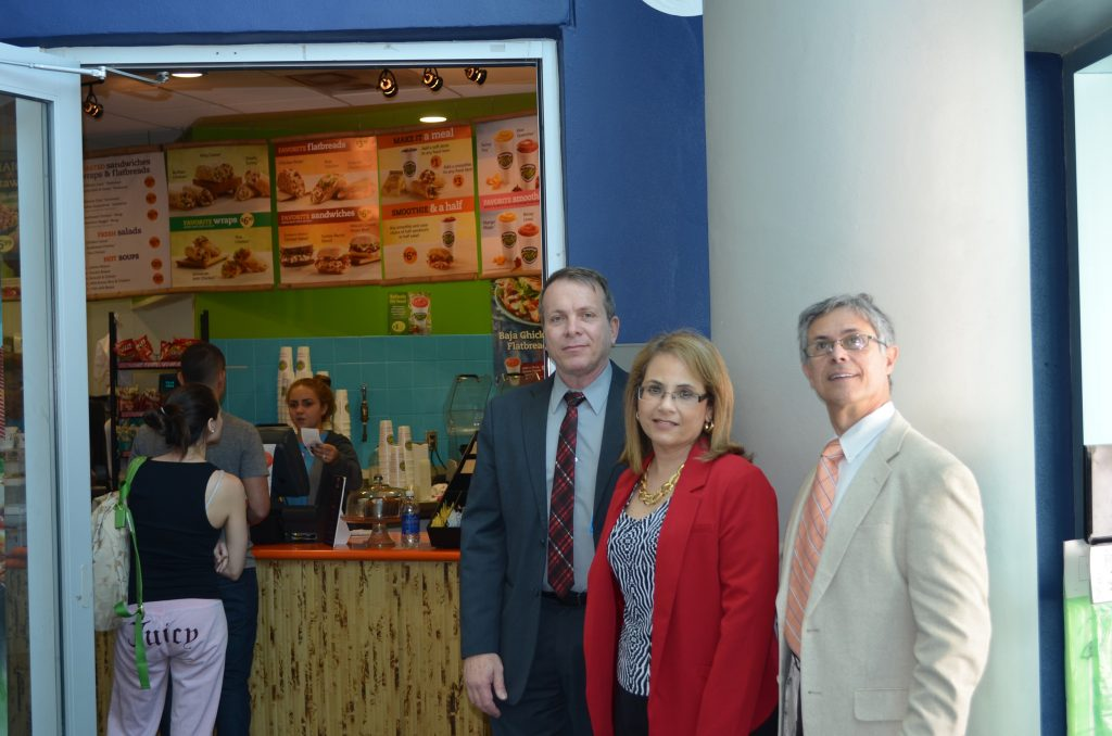 Florida National University Faculty members visit Daniel Diaz's Tropical Smoothies shop