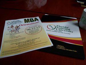 MBA Program Information Folder and Flyer for Florida National University