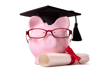 Piggy bank with glasses and a graduation cap and diploma