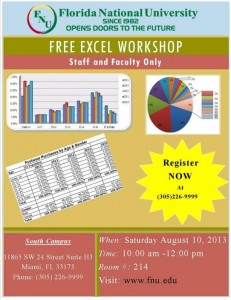 Excel Workshop for FNU Faculty and Staff