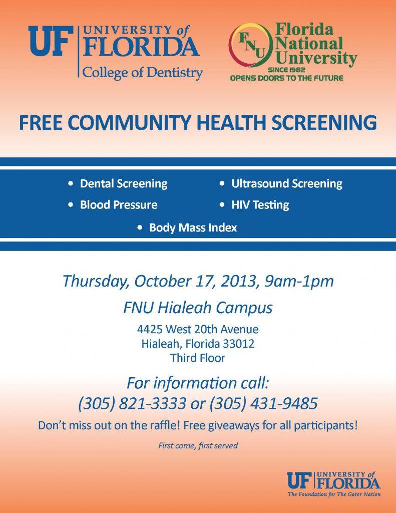 Free Community Health Screening Flyer