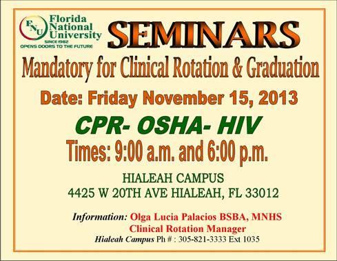 CPR, OSHA & HIV Seminar
