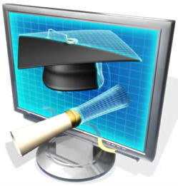 monitor screen with diploma and graduation cap