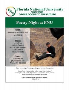 Poetry Night November Flyer
