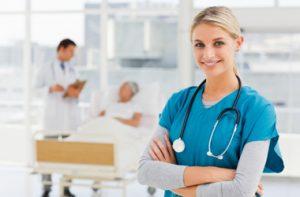 Nurse posing in hospital