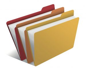Cartoon filing folders in red, orange and yellow