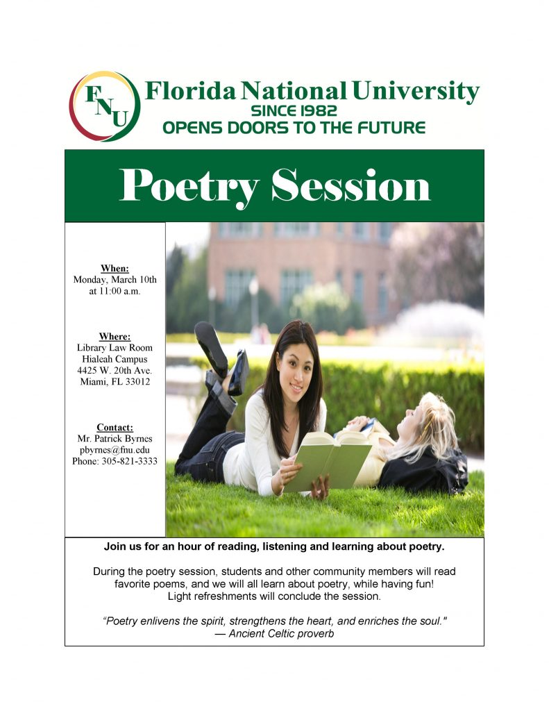 Flyer for March Poetry Session