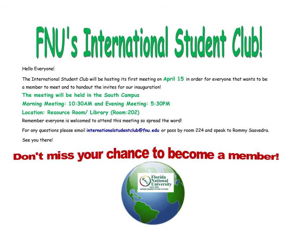 International Student Club Flyer