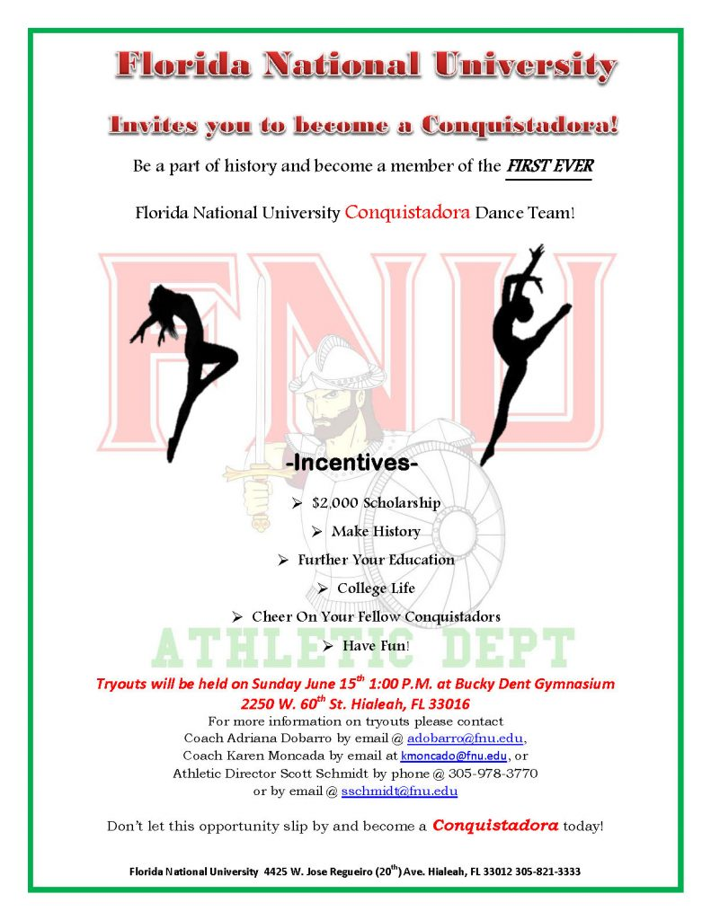 FNU Dancers Tryouts Flyer