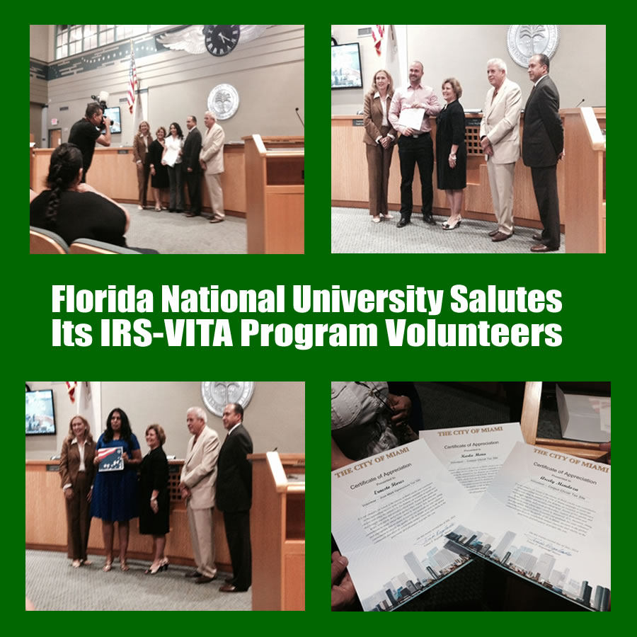 FNU Students receiving award for participating in IRS-VITA
