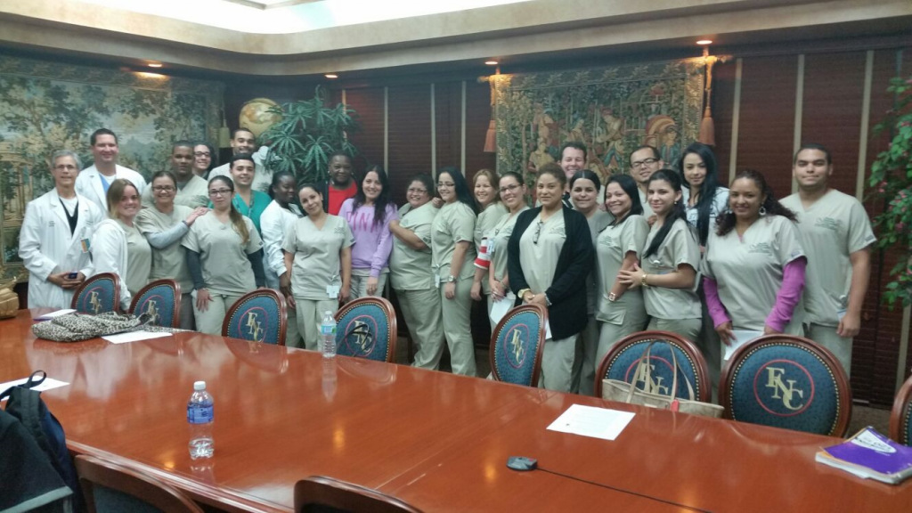 FNU Respiratory Therapy Students with speaker