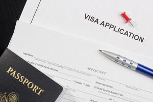 Visa application with passport