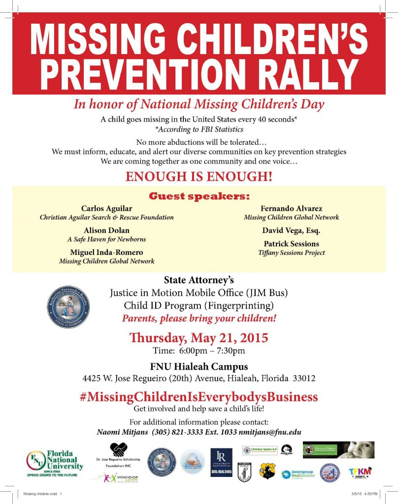 Flyer Missing Children's Prevention Rally FINAL
