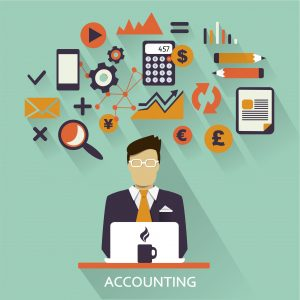 Stock image of an accountant sitting at a desk