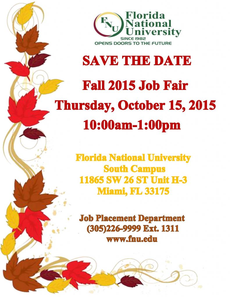Save Date- Fall 2015 Job Fair South Campus