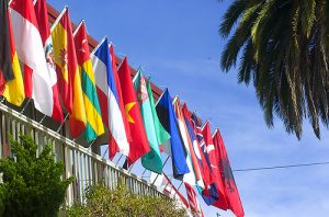 International flags hung outside a balcony