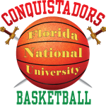 Florida National University conquistadors Basketball ball with swords FNU logo in center