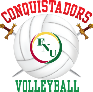 Florida National University Conquistadors Volleyball with swords FNU logo in center