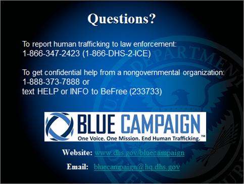 Blue Campaign flyer