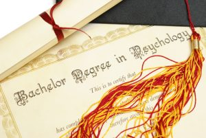 Bachelor Degree in Psychology diploma and graduation cap/tassel