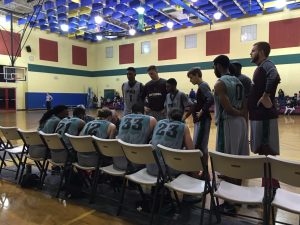 Basketball team during time out huddle