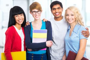 Group of international students posing