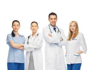 Doctors and nurses posing