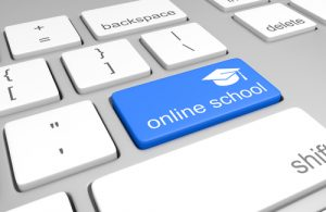 "Keyboard with a button that reads ""Online school"""