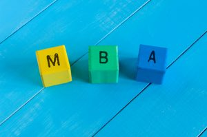 3 colored blocks that spell MBA