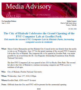 FNU Computer Lab Grand Opening press release by City of Hialeah
