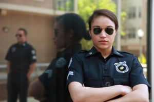 close-up of female police officer