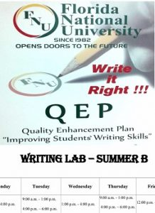WRITING LAB summer hours flyer