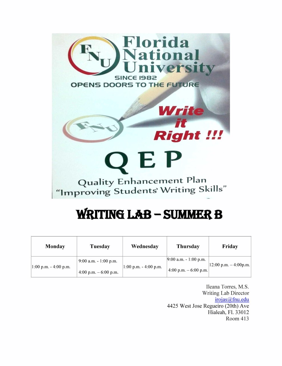 WRITING LAB summer B hours flyer