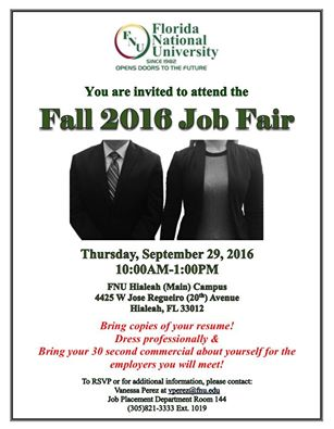 Man and Woman in Business Attire: Job Fair Flyer