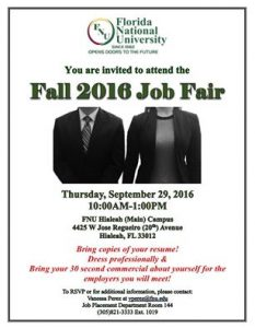 Man and Woman in Business Attire. FNU Job Fair Flyer.