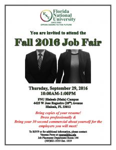 Student Invitation for the  Fall 2016 Job Fair