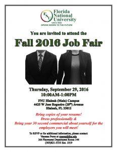 Student Invitation for the  Fall 2016 Job Fair
