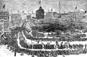 Labor Day parade at Union Square in New York City in 1882