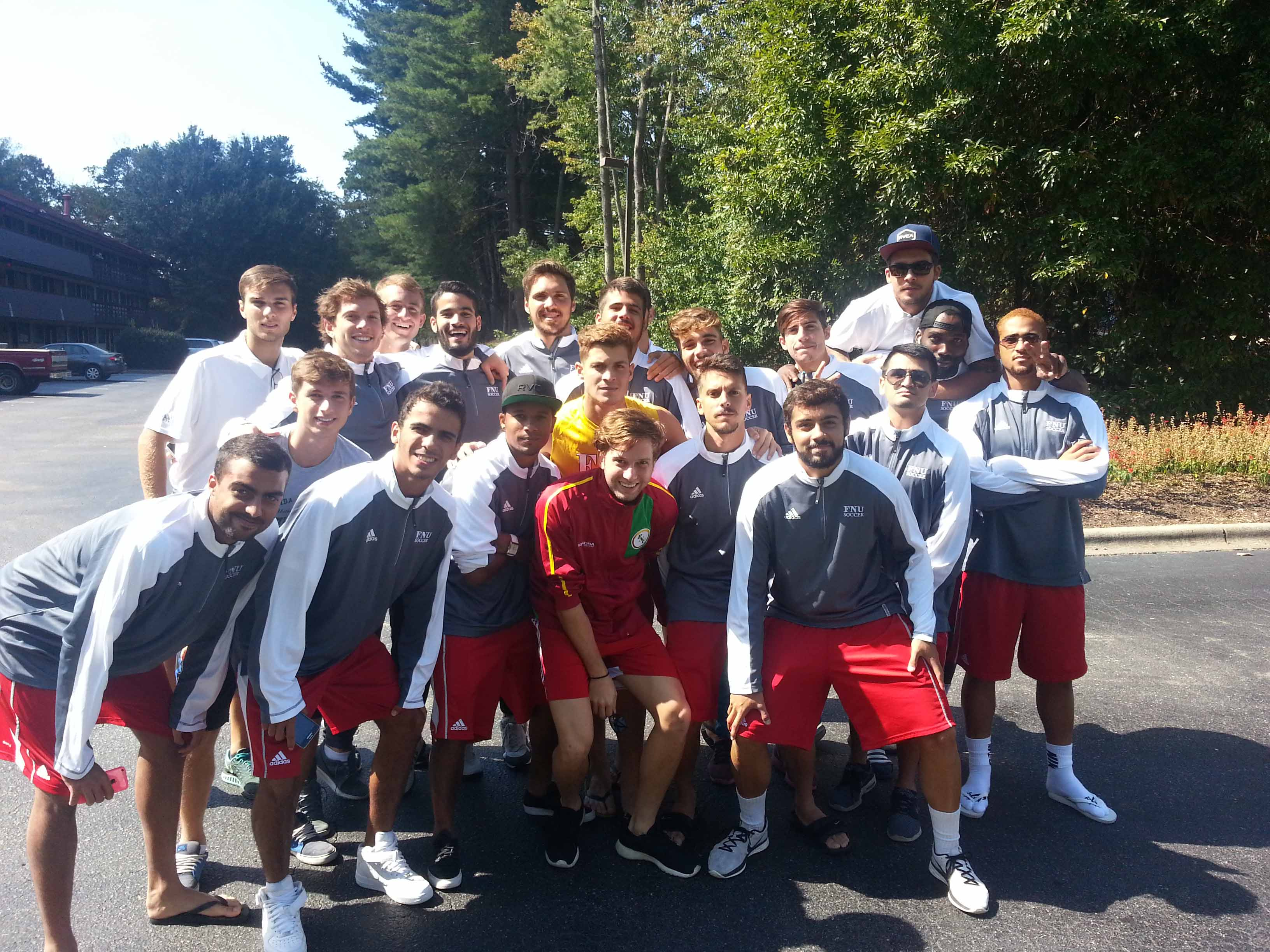 Men's Soccer at hotel before playing game vs Warren Wilson College in which FNU won 21-0