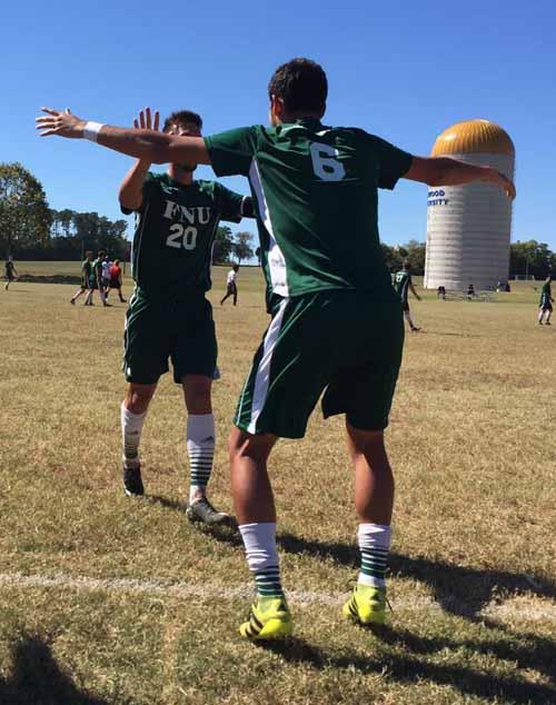 Celebrating one of the goals vs Oakwood University