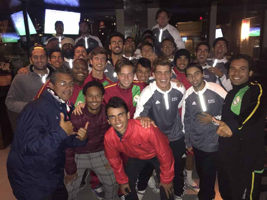 Men's Soccer players at restaurant